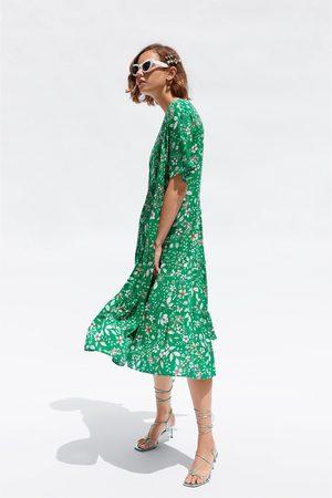 Zara Mujer Midi - Vestido midi estampado floral