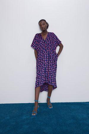 Zara Mujer Midi - Vestido midi estampado