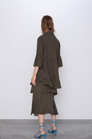 Zara Mujer Vestidos - Vestido volantes botones