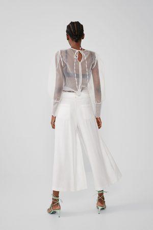Zara Mujer Capri o pesqueros - Pantalón cropped pespuntes