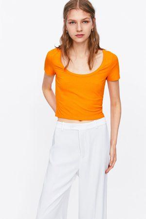Zara Camiseta rib cropped