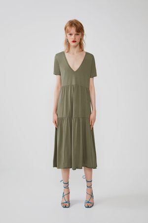 Zara Mujer Vestidos - Vestido volantes