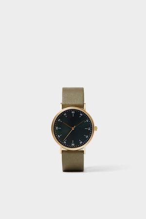 Zara Reloj minimal pulsera piel verde