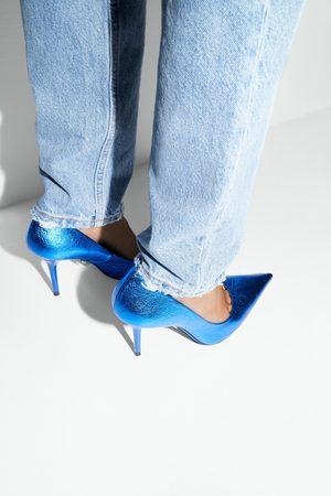 Zara Zapato tacón piel metalizado blue collection