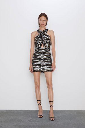 Zara Mujer Vestidos - Vestido lentejuelas cruzado