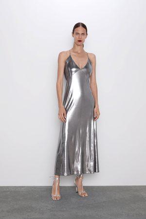 Zara Vestido metalizado tirantes