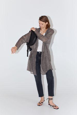 Zara Mujer Chamarras - Chaqueta lino bolsillos