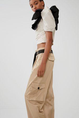 Zara Mujer Camisas - Cuerpo plisado lazo