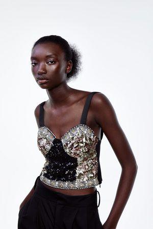 Zara Top cropped lentejuelas