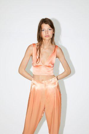 Zara Top cropped satinado