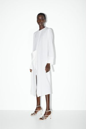 Zara Mujer De tacón - Sandalia tacón piel punta cuadrada