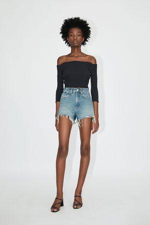 Zara Mujer De mezclilla - Shorts denim hi rise rotos
