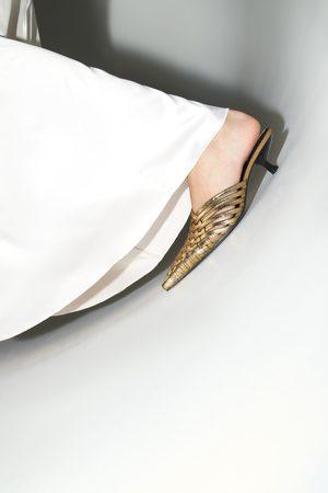 Zara Mule tacón trenzado metalizado
