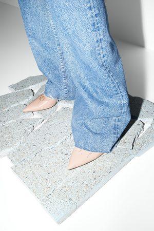 Zara Mujer Tacones - Zapato tacón medio piel destalonado