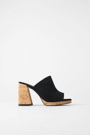 Zara Mujer De tacón - Sandalia tacón ancho serraje