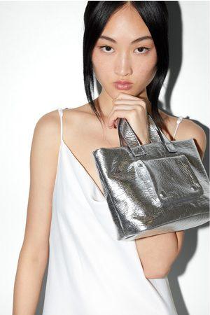Zara Mujer Bolsas - Bolso mini shopper metalizado