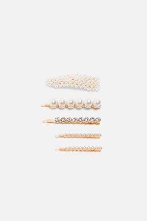 Zara Mujer Joyería - Pack pinzas perlas brillos