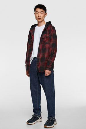 Zara Hombre De mezclilla - Camisa capucha combinada