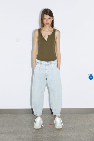 Zara Mujer Playeras - Camiseta estructura tirantes