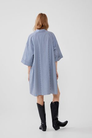 Zara Mujer Camisas - Camisa popelín rayas oversize