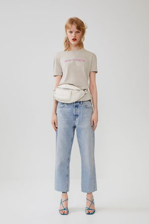 Zara Mujer Playeras - Camiseta texto frontal