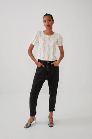 Zara Mujer Playeras - Camiseta detalle encaje