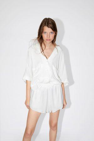 Zara Mujer Camisas - Camisa fluida bolsillos