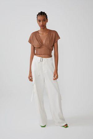 Zara Mujer Playeras - Camiseta elástico