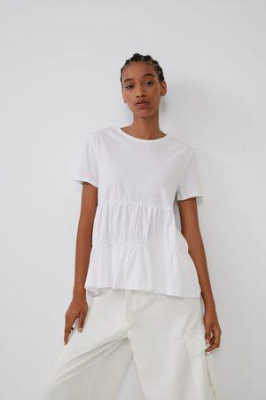 Zara Mujer Playeras - Camiseta frunces