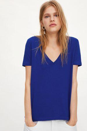 Zara Mujer Playeras - Camiseta pico