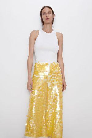 Zara Mujer Pantalones y Leggings - Pantalón lentejuelas edición limitada