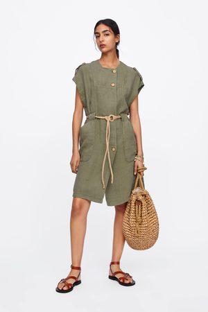Zara Vestido lino cinturón