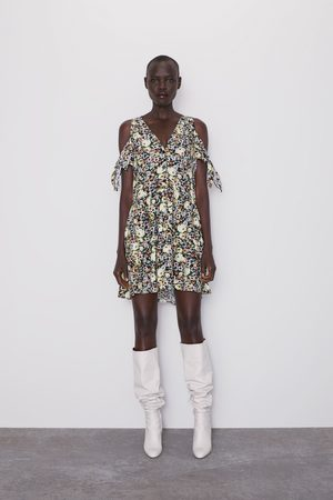 Zara Vestido estampado floral lazos