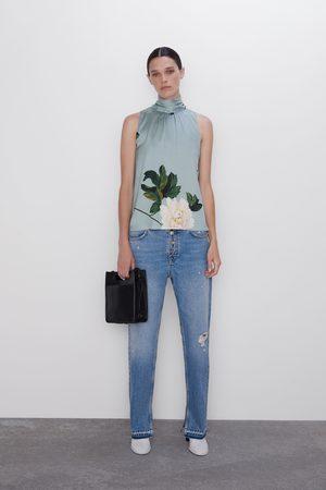 Zara Blusa estampado floral lazo