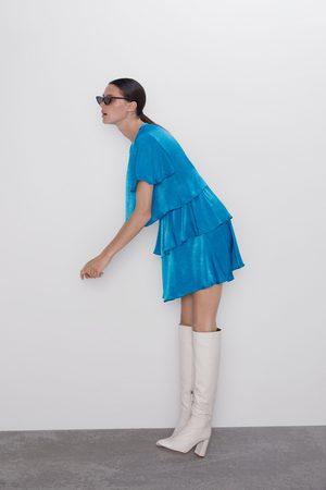 Zara Vestido satinado volantes