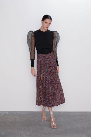 Zara Falda estampado floral aberturas