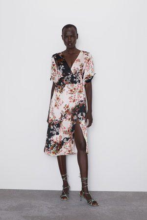 Zara Vestido estampado floral volante