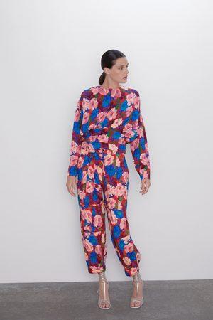 Zara Mujer Cinturones - Pantalón estampado floral cinturón