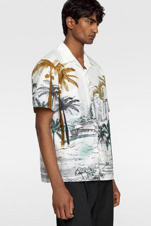 Zara Camisa popelín estampado palmeras