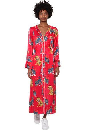 KIRIN Printed Satin Midi Dress