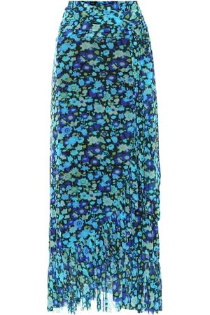 Ganni Floral mesh midi wrap skirt