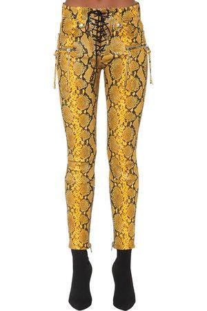 UNRAVEL Pantalones De Cuero Con Estampado De Pitón