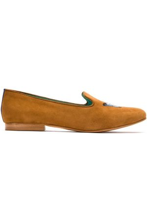 Blue Bird Shoes Slippers de ante con diseño bordado