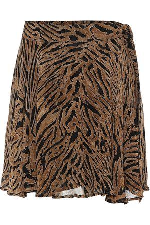 Ganni Tiger-printed georgette miniskirt