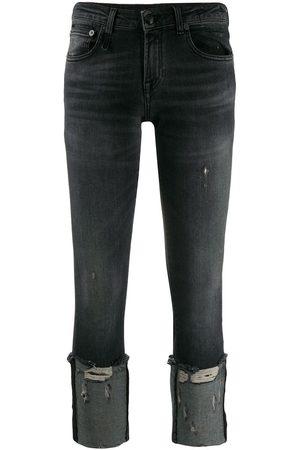 R13 Mujer Skinny - Skinny jeans capri con efecto envejecido