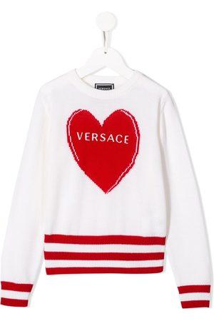 VERSACE Suéter tejido con logo y motivo de corazón