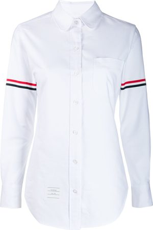 Thom Browne Camisa oxford con rayas de grosgrain en las mangas