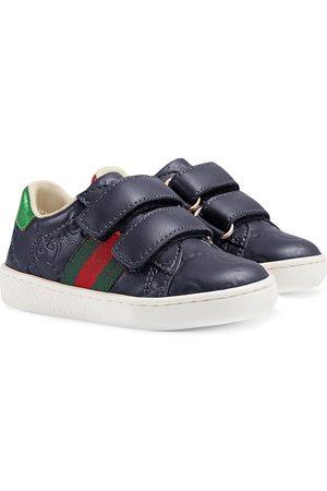 Gucci Zapatos primeros pasos con tribanda Web y logo Gucci
