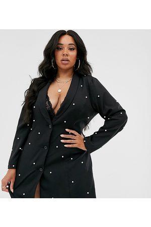 Saint Genies Pearl embellished blazer in black