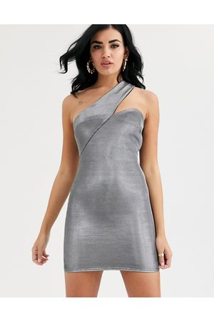 ASOS Asymmetric metallic one shoulder mini dress